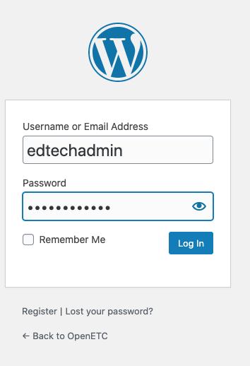 WordPress log in screen.