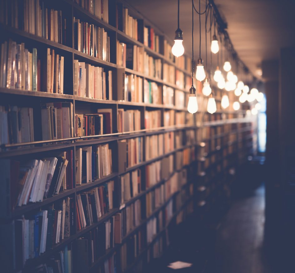 Books in library stacks