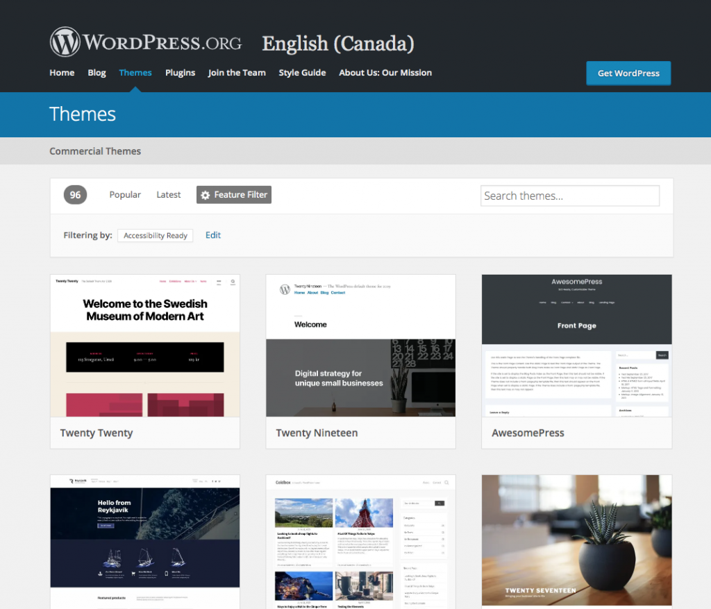 "Screen shot of how to use the filter to see ""accessibility-ready"" themes in WordPress."
