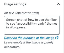 screenshot showing how alt text is prompted on image upload. This alt text describes the image of the theme filters (used above).