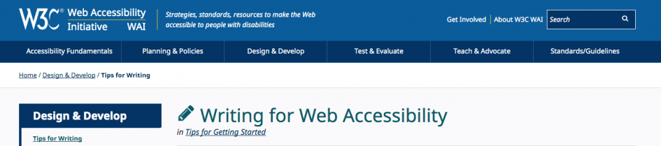header for the WAI web page with writing recommendations