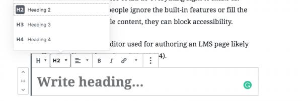 screenshot of a heading editor