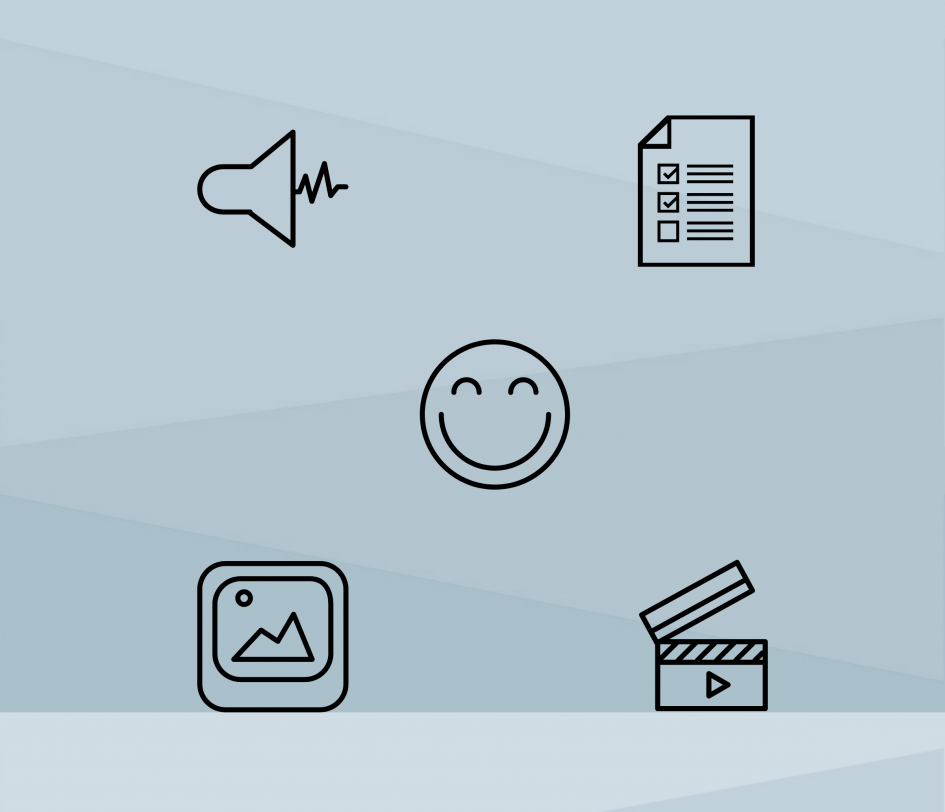 emoji smiling face with audio, video, text, and image icons.